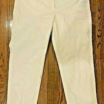 Ann Taylor Loft Marisa White Capri Cuffed Pants-Size 6 Photo