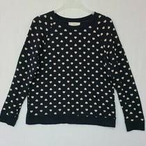 Ann Taylor Loft Navy /tan Heart Print Long Sleeve Sweatshirt Sweater Sz L (J6) Photo