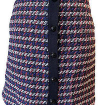 Ann Taylor Loft Petite Red White Blue Texture Skirt With Front Buttons Size 0p Photo