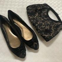 Ann Taylor Loft Pointed Toe Flats Dress Shoes Size 9 & Matching Purse Clutch Set Photo