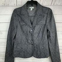 Ann Taylor Loft Print Blazer Jacket Career Gray/black Button Front Sz 6  Photo