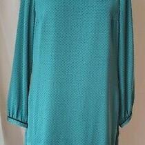 Ann Taylor Loft Round Neck Long Slv Green/black Silky Soft Dress 12 Nwt  89.50  Photo