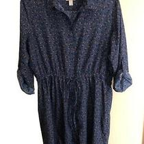 Ann Taylor Loft Shirt Dress Blue Leaves Tie Waist Roll Tab Sleeve Womens Sz 16 Photo