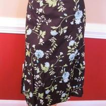 Ann Taylor Loft Size 8 Long Cotton Skirt Washable Black Aqua Floral Print  E1 Photo