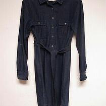 Ann Taylor Loft Size Small Jean Shirt Dress Dark Soft Denim Blue Belt Roll Tab  Photo