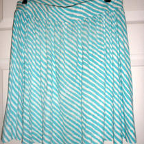 Ann Taylor Loft Size Small Skirt Aqua and White Stripes Photo