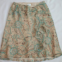 Ann Taylor Loft Skirt 4 Silk Brown Cream Aqua Ruffle Sequin Embellished Photo