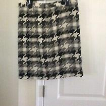 Ann Taylor Loft Skirt Above Knee Houndstooth Wool Blend Multi-Color Size 8 Photo