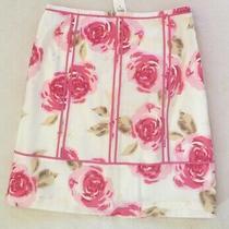 Ann Taylor Loft Skirt Pink Flowers Roses Ribbon Trim Sz 8 Photo