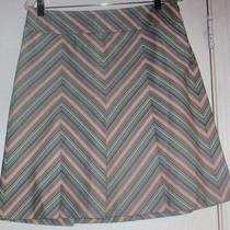 Ann Taylor Loft Skirt Size 8 Striped Diagonal a Line Pleated Brown Aqua Blue Euc Photo