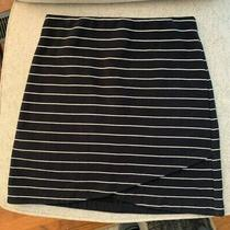 Ann Taylor Loft Stretch Navy Skirt White Stripe Pencil Asymmetrical Size Medium Photo