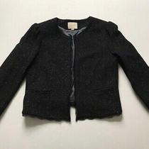 Ann Taylor Loft Sz 10 M Black Tweed Blazer Jacket Silk Wool Lined Lace Trim Photo