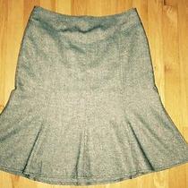 Ann Taylor Loft Teal Green Wool Tweed Flared Skirt Size 6 Fluted Silk Blend Photo
