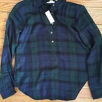 Ann Taylor Loft Tunic Softened Shirt Black Watch Plaid Xs Photo