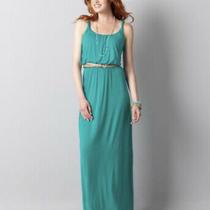 Ann Taylor Loft Turquoise Maxi Dress Small Photo