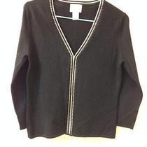 Ann Taylor Loft v-Neck Style Cardigan W/ Bracelet Sleeves - Black/khaki Size S Photo