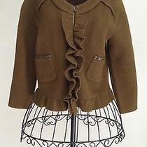 Ann Taylor Loft Woman's Womens Ladies Jacket Brown Petite Xs 100% Merino Wool Photo