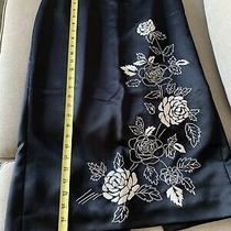 Ann Taylor Loft Women Polyester Pencil Skirt Embroidered Floral Size 6 Photo