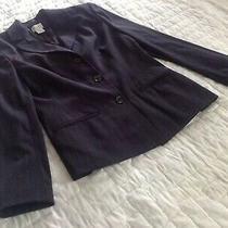 Ann Taylor Loft Women's Blazer Jacket Size 2 Petite Navy Pinstripes Photo