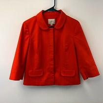 Ann Taylor Loft Women's Blazer Jacket Size 8 Orange 3/4 Sleeve Coat Business  Photo