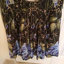 Ann Taylor Loft Women's Cotton Mini Short Skirt Blue Green Floral Size 8 Photo