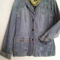 Ann Taylor Loft Women's Jacket Denim Jean Blue Front Button Size 4 Photo