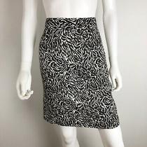 Ann Taylor Loft Womens Pencil Skirt White Brown Career Silk Blend Lined Size 8 Photo