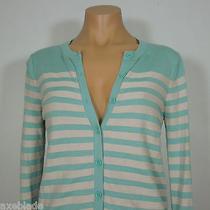 Ann Taylor Loft Women's Striped Cardigan Sweater Blue/gray Size S Photo