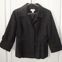 Ann Taylor Loft Womens 6 Small Solid Black Textured Tweed Peplum Blazer Jacket Photo