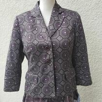 Ann Taylor Loft Womens Blazer Size 4 Medallion Print Dark Brown Cotton  Photo