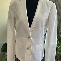 Ann Taylor Loft Womens Cotton Linen White Two Button Blazer Size 8 Tall Photo