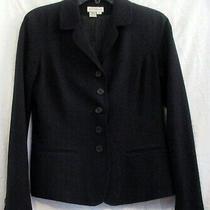 Ann Taylor Loft Womens Size 8 Triacetate Polyester Blend Black 5 Button Blazer  Photo