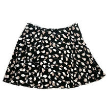 Ann Taylor Loft Womens Skirt a-Line Flare Black Blush Printed Lined Size Large Photo