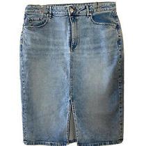 Ann Taylor Loft Womens Skirt Size 12 Split Hem 4 Pocket Light Denim Photo