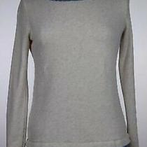 Ann Taylor Loft Womens Top Size Xs Beige Floral Knit Shirt Long Sleeve Cotton Photo