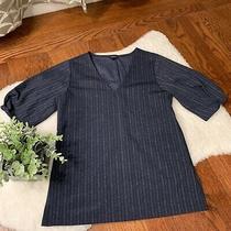 Ann Taylor Navy Blue & White Pinstripe Blouse Xxs Nwot Photo
