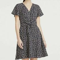 Ann Taylor Navy Floral Print a-Line Dress Size 10 Photo