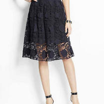 Ann Taylor Navy Illusion Lace Skirt - Sz 6 Retail 98 Euc Photo