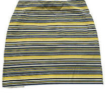 Ann Taylor Petite Skirt 6p Yellow Blue Striped Photo