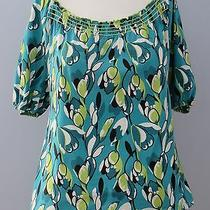 Ann Taylor Petites Size M Green Floral Short Sleeves Blouse Photo