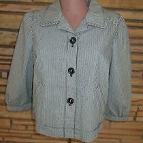 Ann Taylor Pinstripe Blazer  Jacket 3/4 Sleeves Pockets   Sz 8 Photo