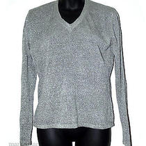 Ann Taylor Shine Gray Silver Lightweight Vneck Sweater Size L Photo