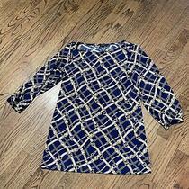 Ann Taylor Shirt Top Blouse Navy W/gold Belts & Chain Print Sz S Photo