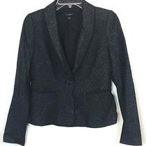 Ann Taylor Size 0 One Button Blazer Black Wool Blend Jacket Lined  Photo