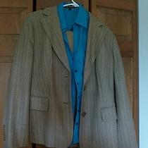 Ann Taylor Suit Khaki With Blue Striping and Blue Express Top Photo