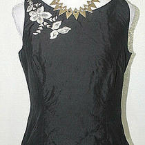 Ann Taylor Sz 8 Black Embroidered 100% Silk Lined Top Blouse Shell Photo