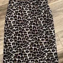 Ann Taylor Sz 8 Cheetah Print Skirt Lined Cotton Silk Blend Guc Bz5 Photo