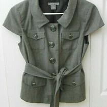 Ann Taylor Tailored Gray Womens Blazer Jacket With Belt Size 2 Euc Photo