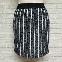 Ann Taylor Textured Cotton Skirt Size 6p Dark Navy & White Photo