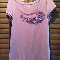 Ann Taylor Top S Blush Dusty Pink Embellished Neckline Scoop Stretch Tee Ruffled Photo